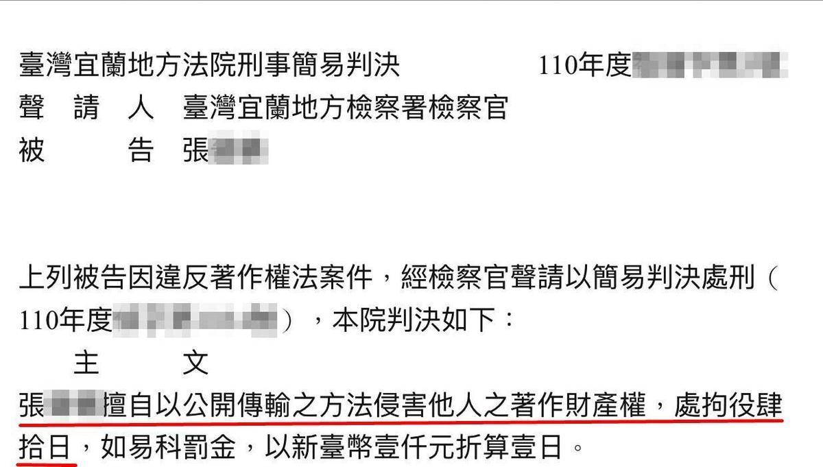 吳夢夢發現多名網友非法轉傳她的作品,憤而提告,其中一案獲法院認證有著作權。(翻攝司法院法學資料檢索系統)