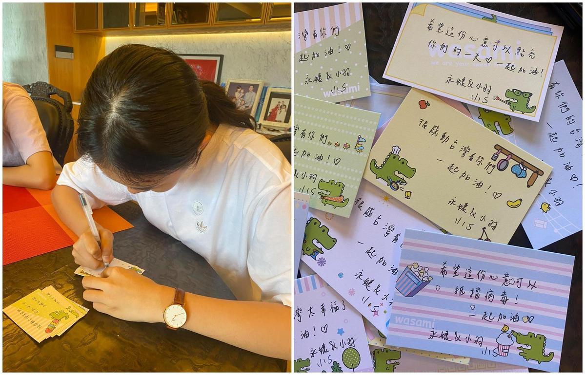 女兒幫忙寫卡片,為醫護人員打氣。(翻攝賈永婕臉書)