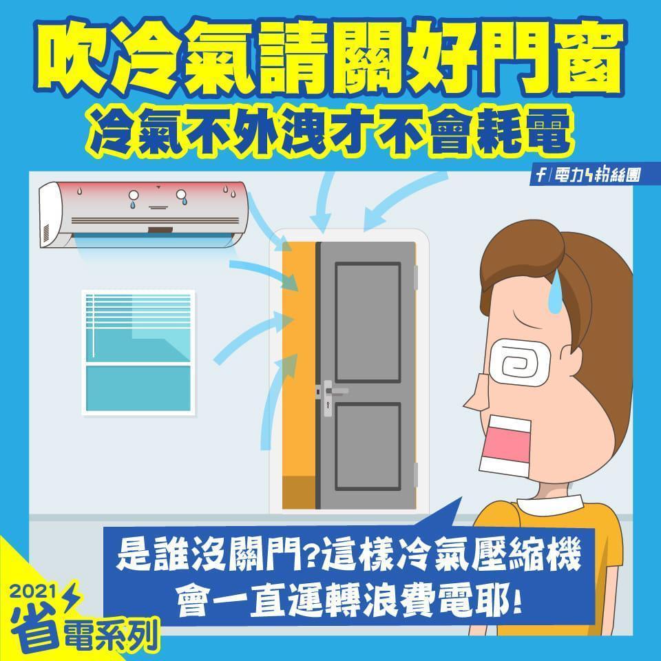 「電力粉絲團」分享吹冷氣時,關好門窗其實就是節能的最基礎撇步。(翻攝自電力粉絲團臉書)