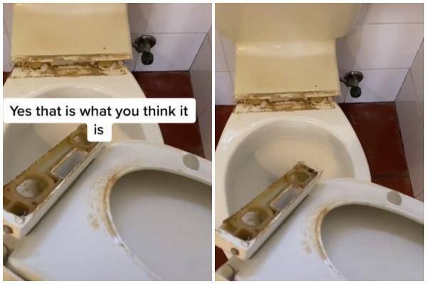 馬桶坐墊接合處累積一層超厚且呈現黑褐色的「尿垢」。(翻攝自thebigcleanco TikTok)