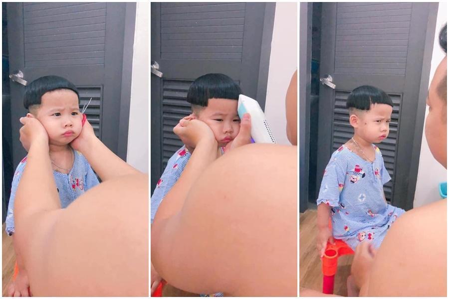 有網友分享越南小朋友在家被爸爸強制剪頭髮爆笑照片。(翻攝自臉書「爆廢公社公開版」)