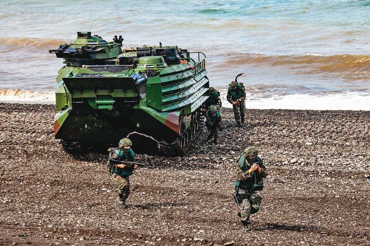 共軍在此次兵推計畫中雖成功登陸,但因遭國軍分批包圍,無法集結。(國防部提供)