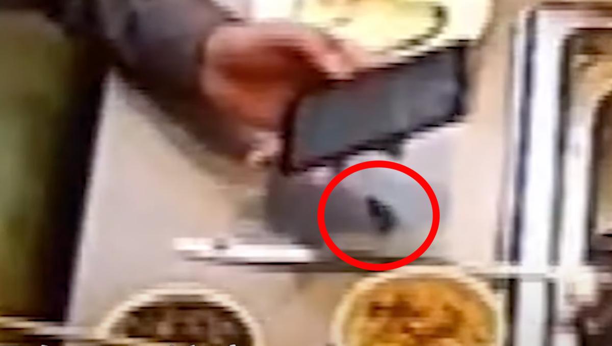 監視器畫面可見黑色異物從男子手中滑出,隨後與青菜一起被丟進鍋中。(翻攝自YouYube)