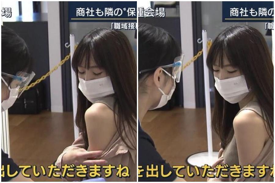一名日本OL正妹接種疫苗畫面引發日、台網友暴動。(翻攝自日網)
