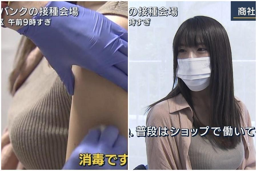 一名日本OL正妹接種疫苗畫面引發日、台網友暴動,正面五官看得出來長相甜美。(翻攝自日網)
