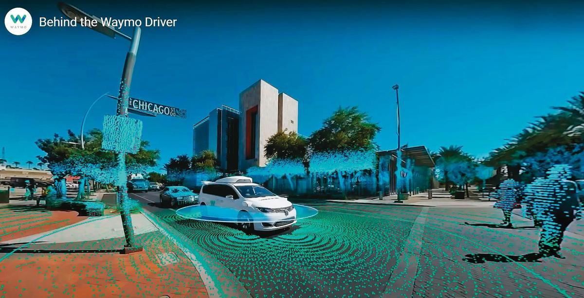 自駕車只要在車頂裝上一顆光達,便能360度環景掃描,不但能取代鏡頭3D成像,還能辨識周邊物體為何物,也能充當定位系統。(翻攝自Waymo官網)