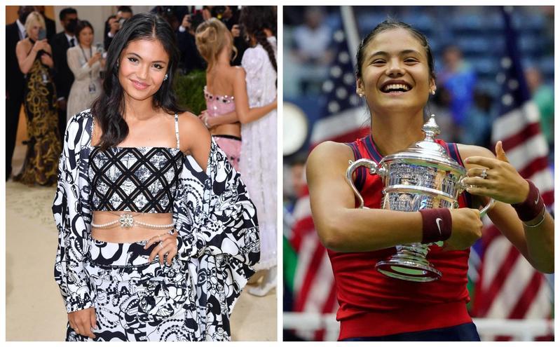 拉杜卡努獲得美網冠軍後,受邀參加時尚盛宴MET Gala(左圖)。(翻攝WTA推特)