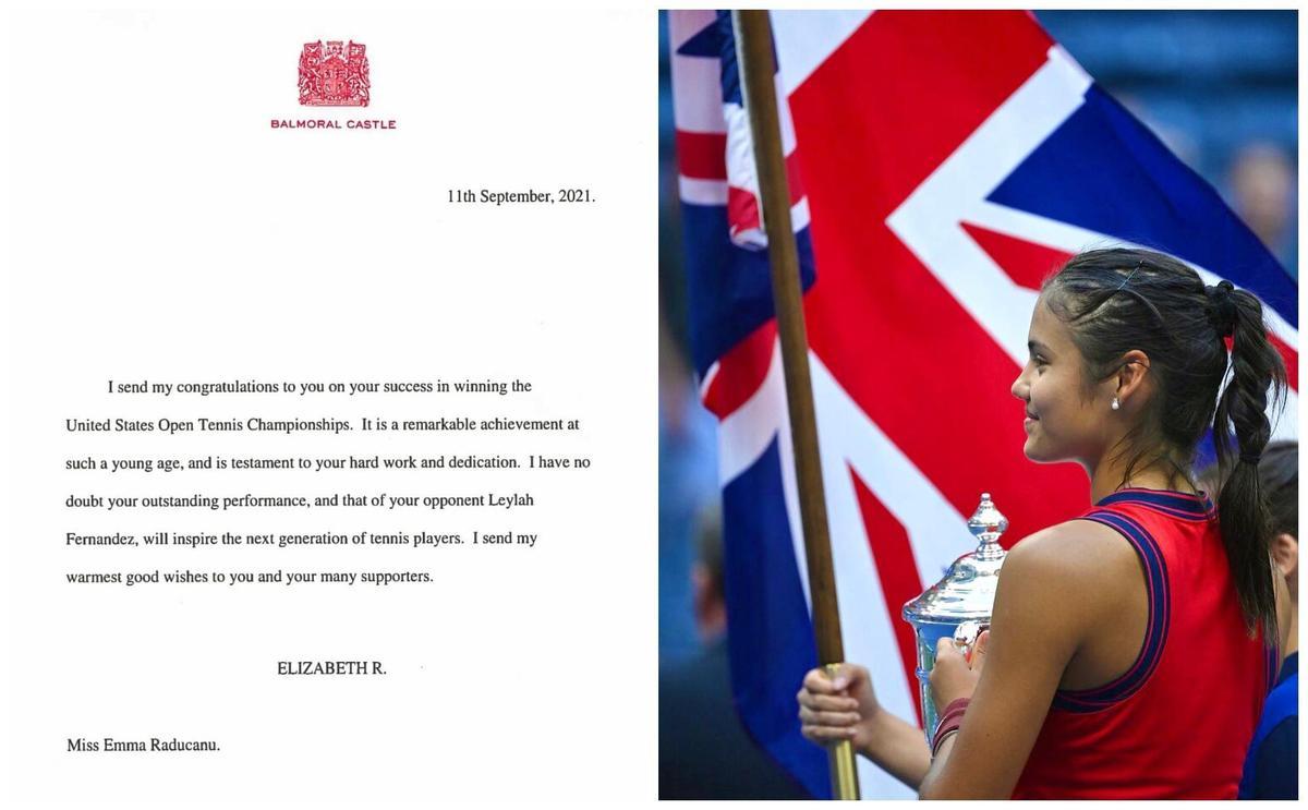 英國女王發信祝賀拉杜卡努。(翻攝Emma Raducanu推特)