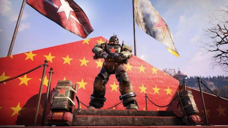《異塵餘生76》中出現印有五星旗的巨大機器人。(翻攝遊戲畫面)