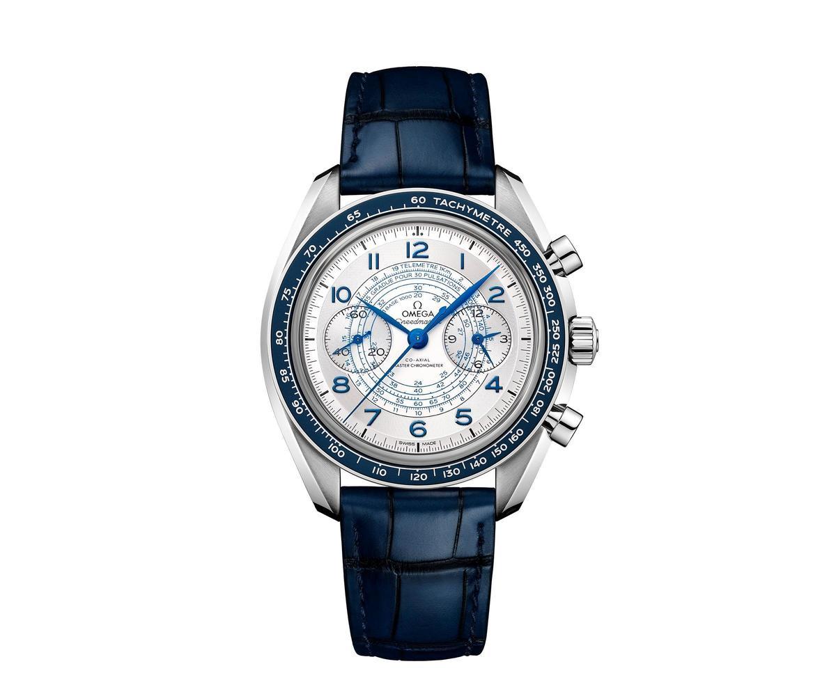 Speedmaster Chonoscope腕錶少見地將測速儀、測距儀以及脈搏計放在同一支錶上。