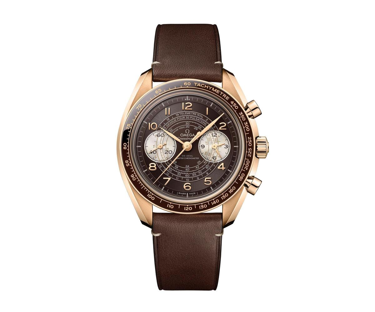 Speedmaster Chonoscope腕錶,青銅金材質配皮錶帶,建議售價NT$460,000