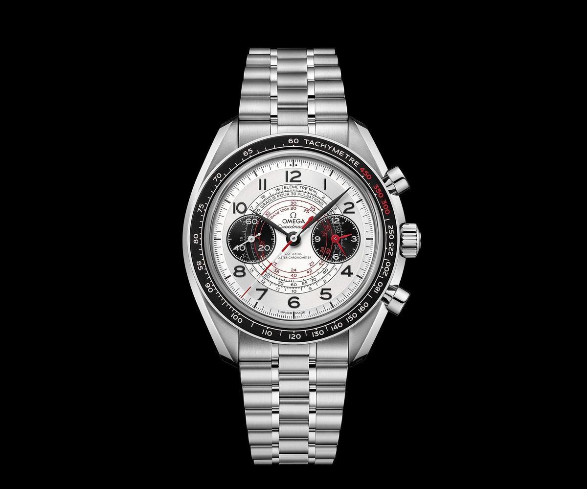 Speedmaster Chonoscope腕錶,精鋼錶殼搭配精鋼鍊帶,建議售價NT$283,000。
