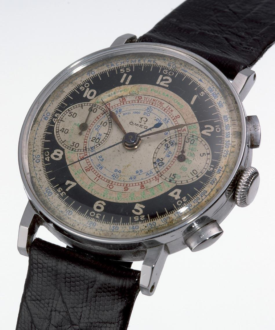 Speedmaster Chonoscope腕錶以1940年一支古董計時碼錶為靈感,包括雙眼計時盤與蝸形刻度都是取自當年的設計。